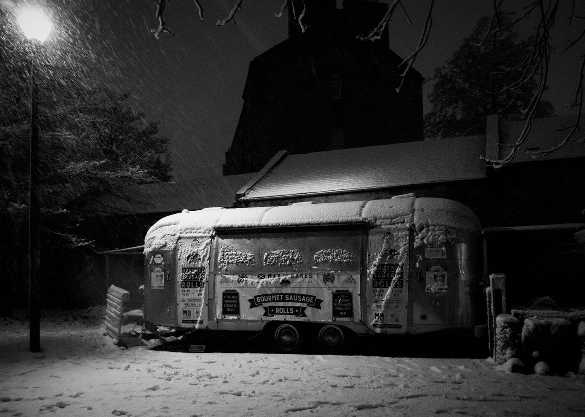 Sausage roll trailer on The Meadows, Edinburgh #Edinburgh #blackandwhitephotography #snow