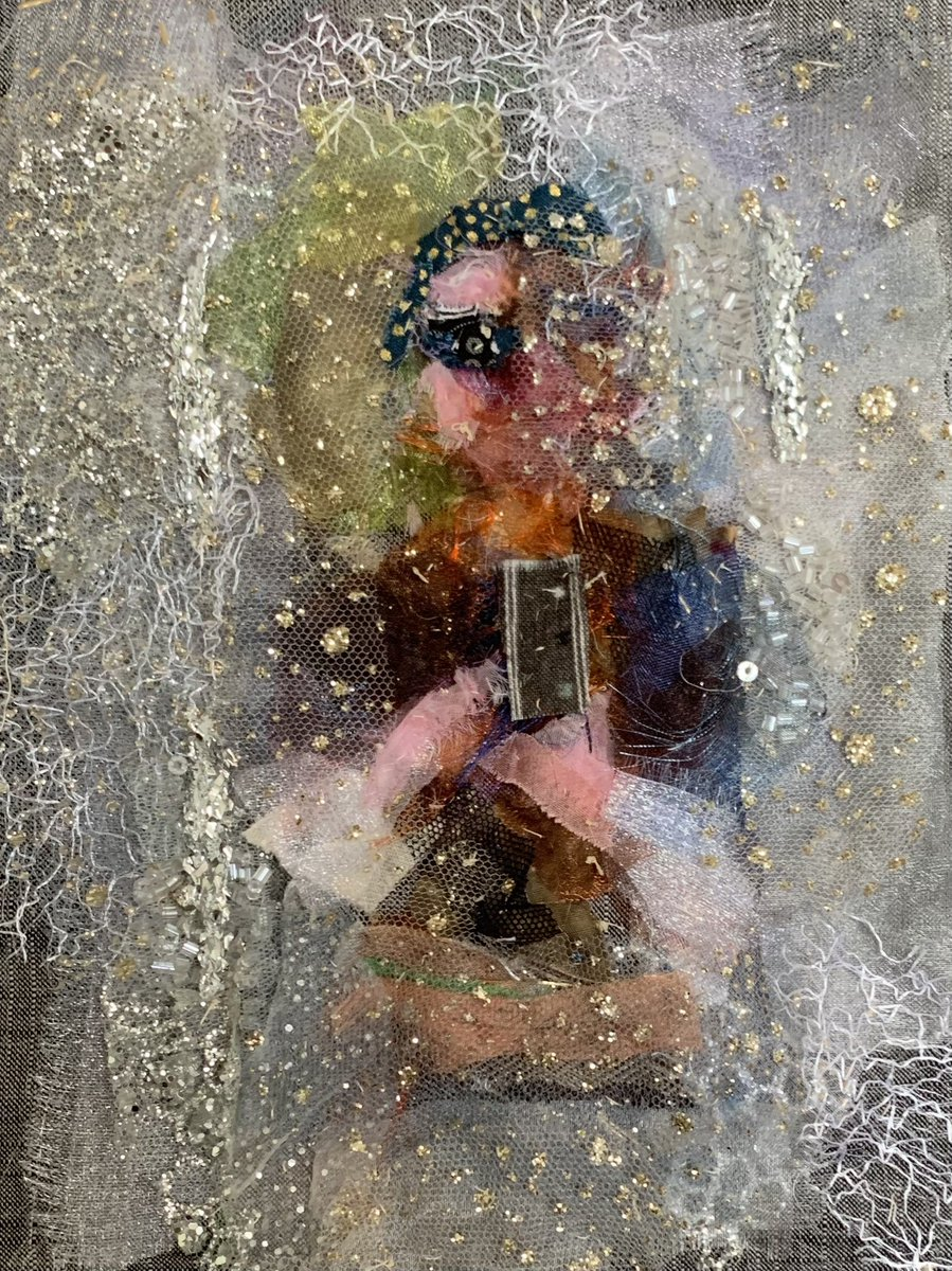 Inspired by @dmboanasartidt wonderful #watery pictures this is a #selfie in the #bathroom with its opaque #windows and #rain running down them in last night's #storm! #textiles #handstitched #collage #portrait