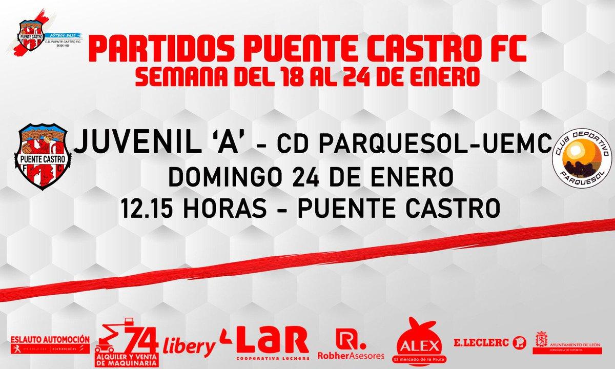 🔜 ¡Vuelve nuestro Juvenil 'A' a jugar en Puente Castro!  🗓️ Domingo 24 de enero 🕠 12:15 🆚 @CDParquesol 🏟️ Puente Castro 🔒 Puerta cerrada  #OrgulloArlequinado 🔴⚪ #VaPuenteVa #SomosFútbol #SomosFormación