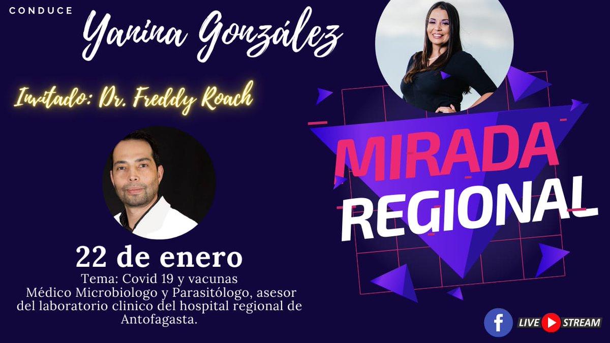 """Este Viernes 22  a las 20:00hrs. comenzaremos  con #MiradaRegional  tema de este primer programa """"#COVID19 y #vacunas"""" invitado: Dr. Freddy Roach, Médico Microbiólogo y Parasitólogo Te esperamos, conéctate y deja tus consultas!!  #Antofagasta"""