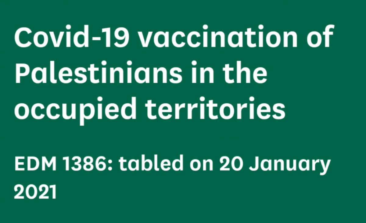 Israeli settlements are being vaccinated yet Palestinians living metres away are not. Ive tabled a motion urging the British government to call out this injustice. We must ensure Palestinians in the West Bank and Gaza are vaccinated against COVID-19. nadiawhittome.org/blog/nadia-whi…