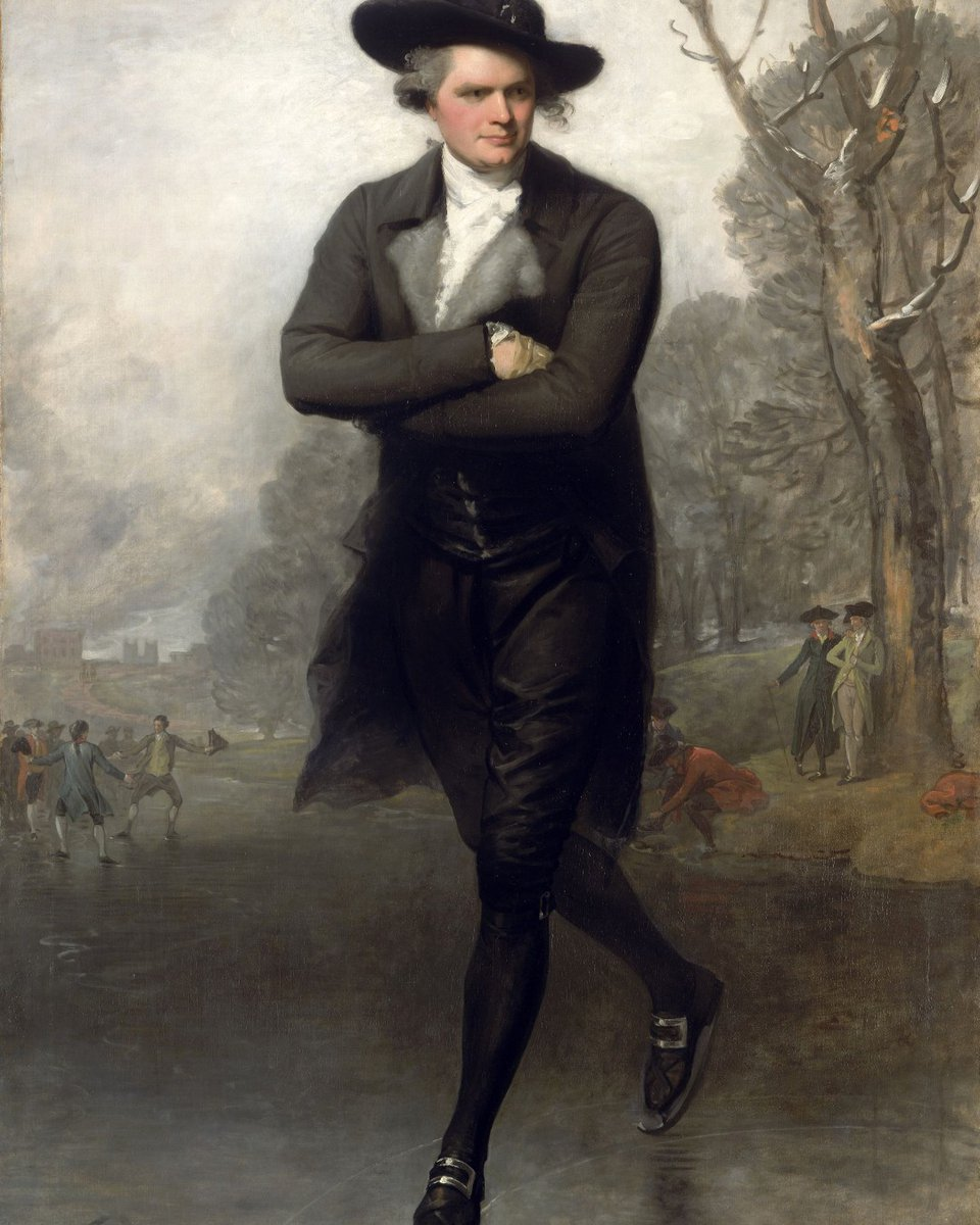 """❄️Winter Fun Week continues with Gilbert Stuart's """"The Skater,"""" (Portrait of William Grant), 1782, @ngadc, which may have influenced Raeburn's """"The Skating Minister.""""   #winter #skating #menswear #TheSerpentine #painting #fashion #18thcentury"""
