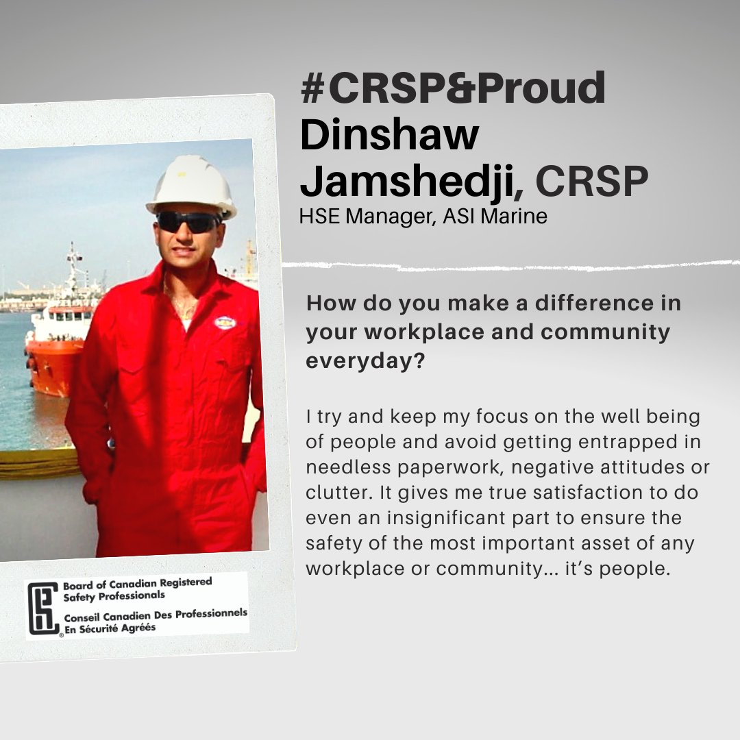 #CRSP Dinshaw Jamshedji with some #wordsofwisdom #careerpath #safetypro #valueofcertification #ThursdayThoughts #CRSPandProud  Are you a #CRSP or #CRST looking to be featured by the BCRSP? send us a message.