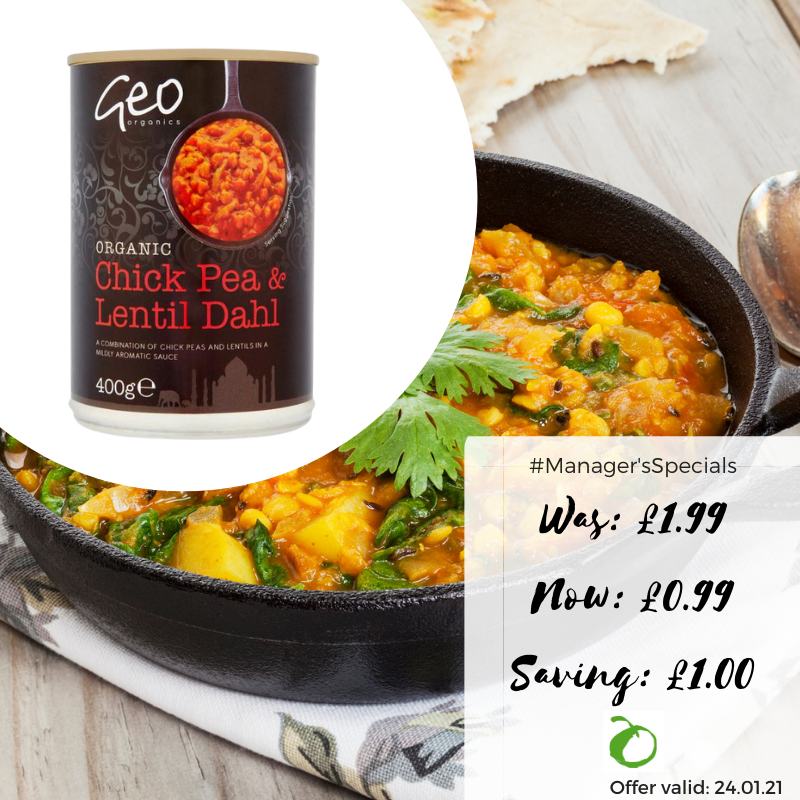 Some days we all need an easy meal! This Geo Organics Chick Pea & Lentil Dahl is perfect for #Veganuary and is half price in-store at Real Foods this Sunday (24/01). #RealFoods #Edinburgh #Vegan