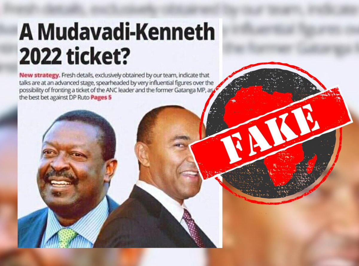 Africa Check - Mudavadi-Kenneth ticket for Kenya's 2022 election? No, Standard front page photoshopped https://t.co/34fDXGn67D https://t.co/ZBAyzRtEfF