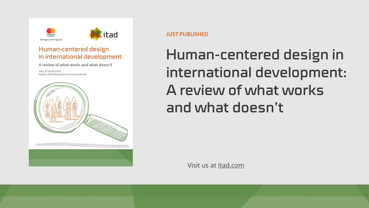 FRESH OFF THE PRESS: Human-centered design in #internationaldevelopment: A review of what works and what doesn't   From @LabSavings, written by Rathi Mani Kandt and @Jamesrobinson_    Find out more: