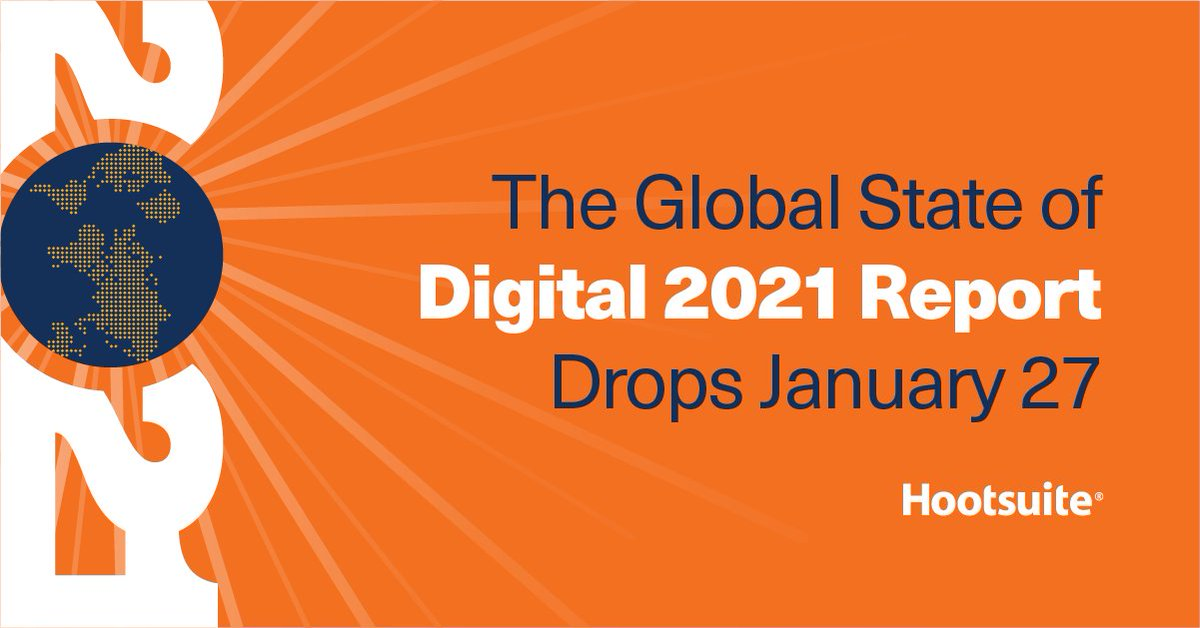 It's our biggest and most comprehensive report on the state of social media, ecommerce, digital ad spending and more. And it drops on Jan 27 🗓 #markyourcalendars #Digital2021