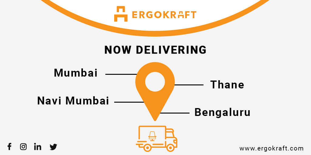 Order worry free because now we are delivering across Mumbai, Thane, Navi Mumbai & Bengaluru. #ErgoKraft #MakeItWithErgoKraft #Office #Mumbai #Thane #NaviMumbai #Bengaluru #Furnitures #Tables #Chairs #Storages #OfficeSpaces #Cabinets #WorkSpace #WorkStation #WorkPlace