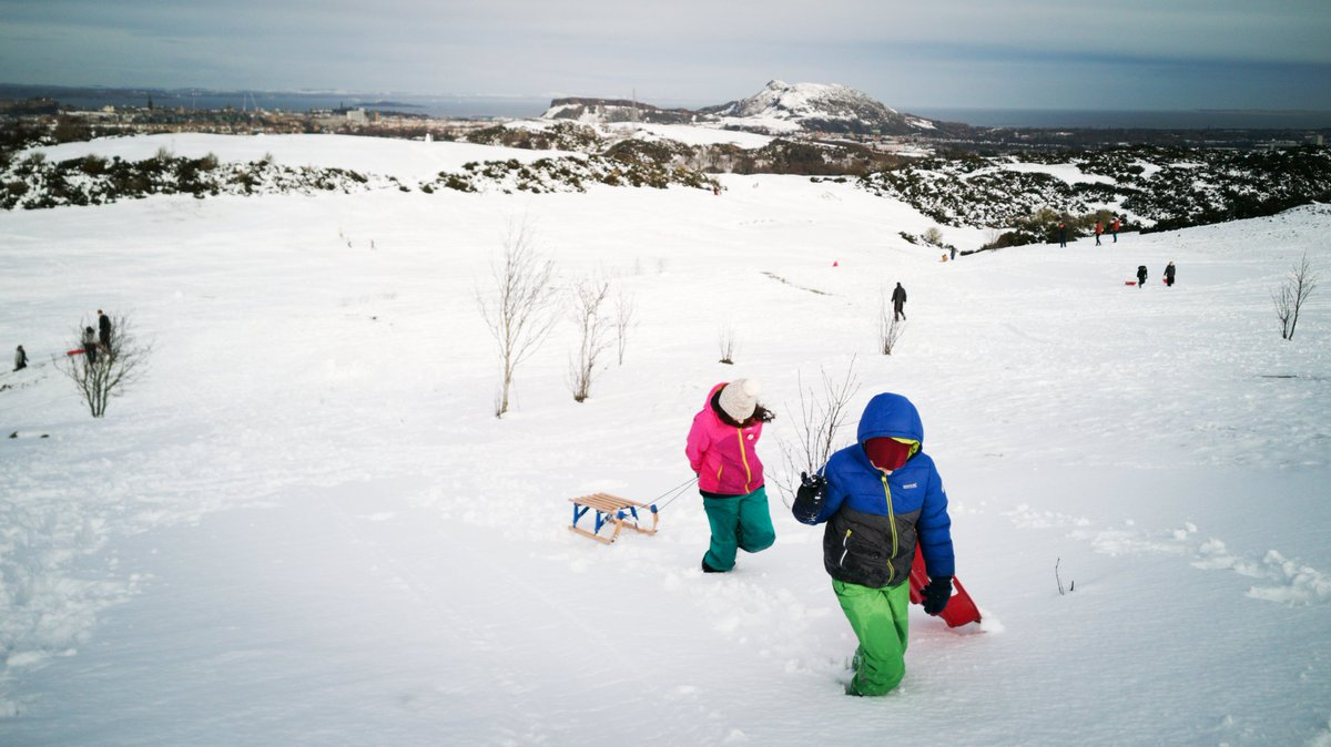 We couldn't resist 😁. At the #braidhills for a quick lunchtime sledge ⛷️☃️🌨️. #homeschooling #flexibleworking #lockdownparenting #edinburgh #snowday @BraidHills