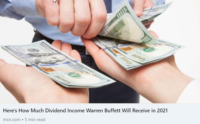 Here's How Much #DividendIncome #WarrenBuffett Will Receive in 2021