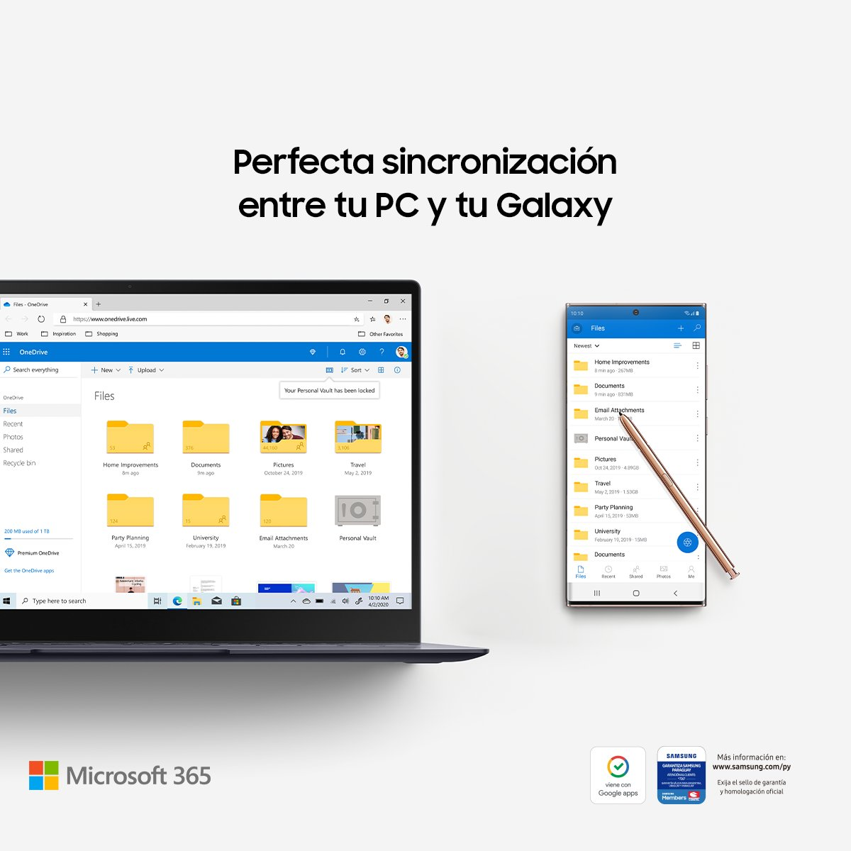 Disfrutá de la conectividad perfecta, sin cables, en tiempo real, y simplifica el trabajo. Con la compra de tu #GalaxyNote20 | 20 Ultra, tenés un año gratis de Microsoft 365 + 1TB de almacenamiento en la nube.