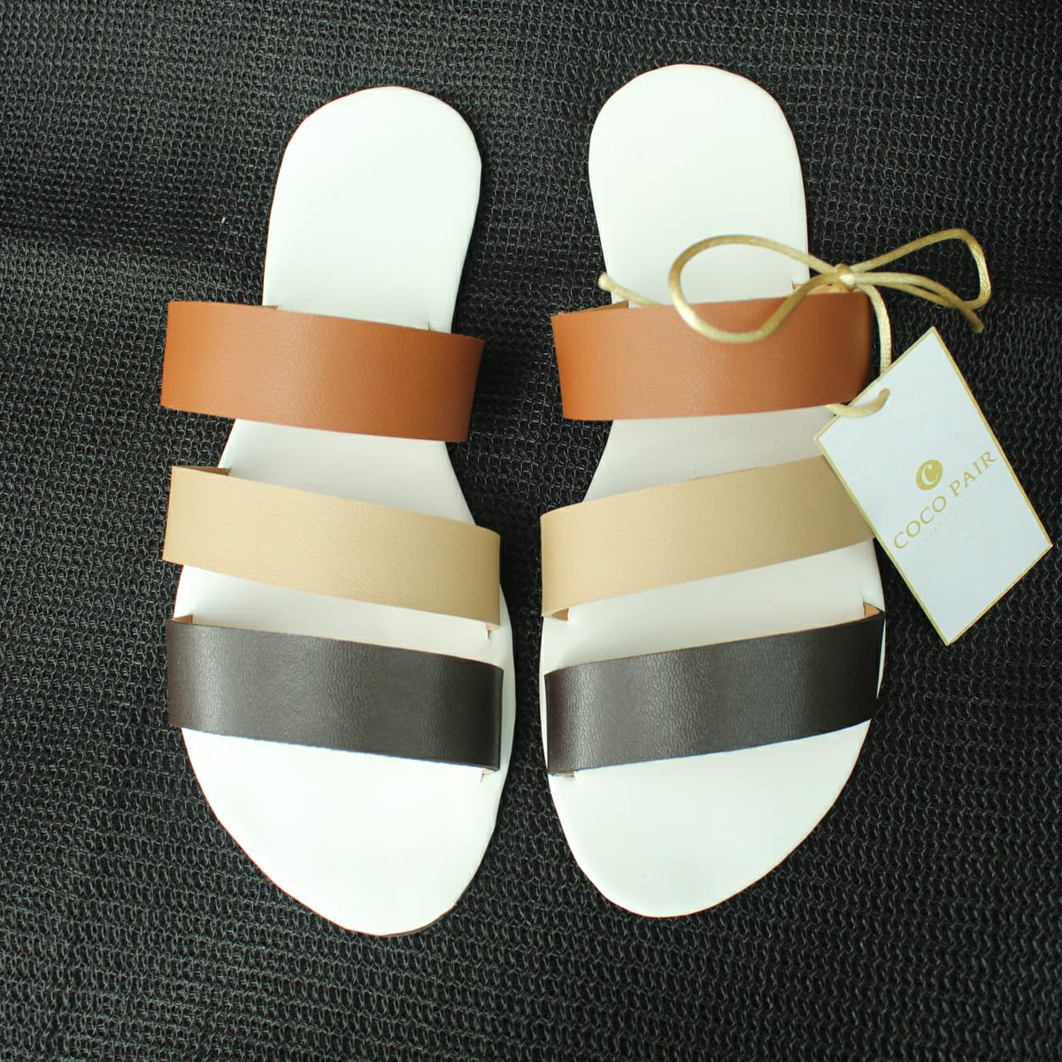 Just stocked ~ Coco pair three color slides ~  Let white sole and three different color straps to change your tomorrow's look!  Free delivery within 7 days.  #cocopair #srilankanfootwear #srilanka #slippers #sandals #footwear #threecolorstraps #fashion