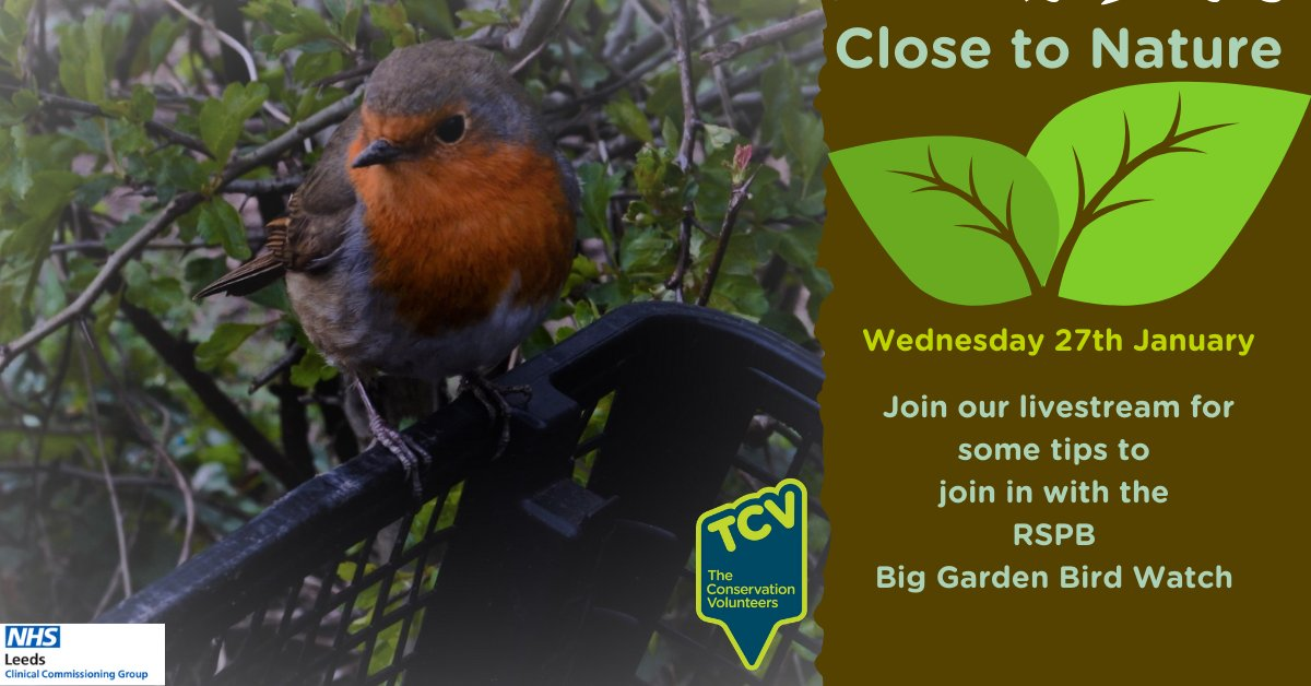 Join in with @RSPB #BigGardenBirdWatch. Alex and Freya from our @TCVGreenGymLds team will run through some pointers on how to #JoinInFeelGood Watch next weeks #CloseToNature on our Facebook or Youtube at 11am Wed 27th January. Get it in your calendar! youtu.be/uDakG24fByw