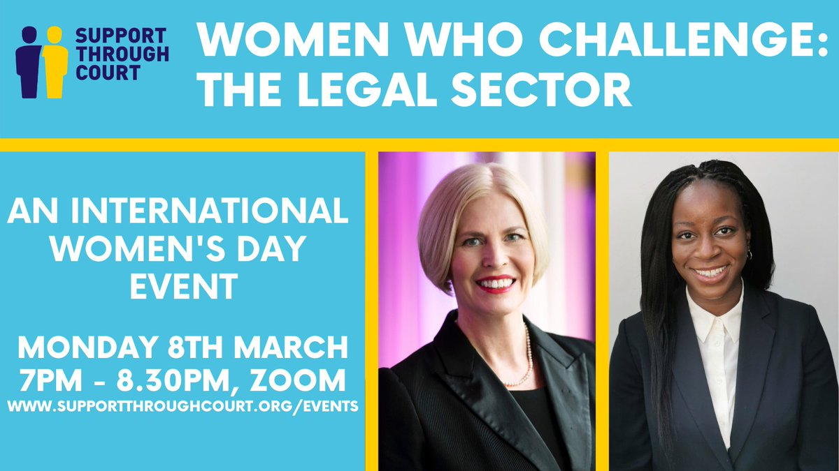 "I am really looking forward to sharing my experiences and speaking alongside the awe-inspiring @Blacklawslaw for a fantastic initiative by @SupportTCourt   ""Women Who Challenge: The Legal Sector""  on #InternationalWomensDay  – save the date!  #law #womenempowerment #leadership"