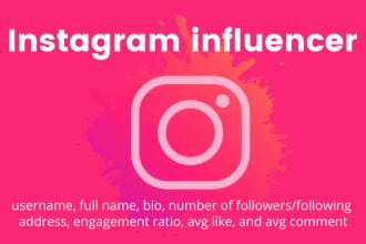 I will #find_instagram_influencer base on your niche for your #business.  #Instagram #instagraminfluencer #freelancers  #thursdaymorning #ThursdayThoughts #SunriseCelebration #BNHA298 #ThursdayMotivation  more info: