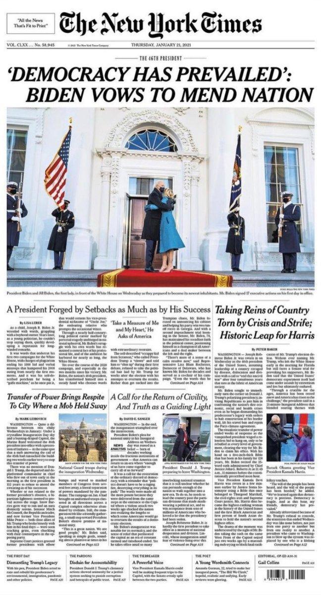 Goodbye Donald Trump.  Hello Joe Biden.  America has survived.  #ThursdayThoughts #ThursdayMorning