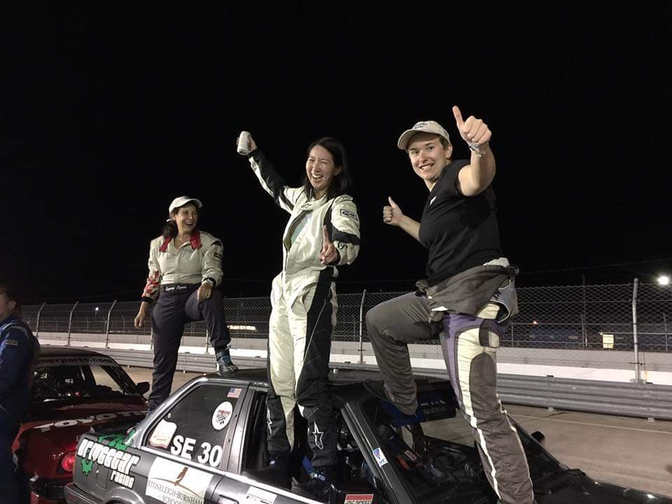 Four years, I crossed the finish line first in class for my teammates Lynn and Amy. This was @ShiftUpNow's first ever win. I'm planning some endurance races for this season. Cool cars and badass teammates. Who wants in? 😁