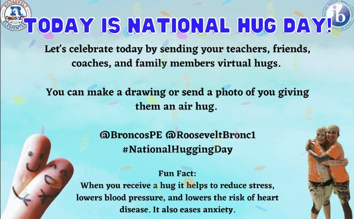 We are sending out air hugs to all of our Bronco community as we celebrate National (Virtual) Hug Day.  We love you all and will continue to be together as one community.   #NationalHuggingDay  #BroncoPride