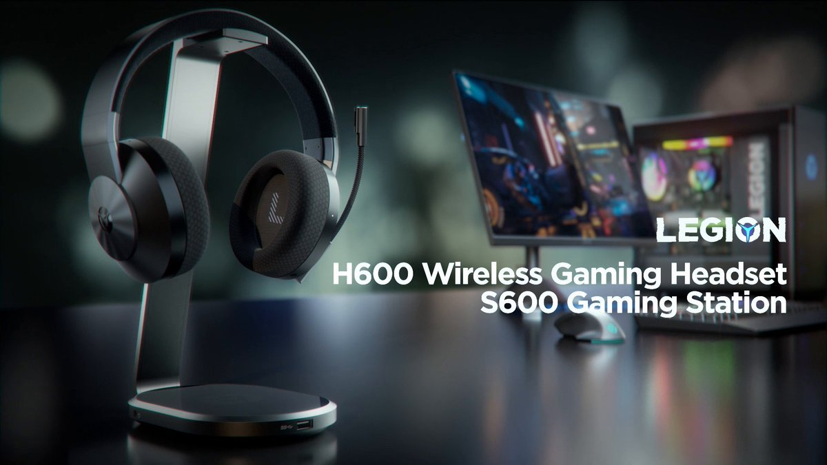 Hear every footstep of that third-party squad trying to sneak in thanks to the high-quality sound of the Legion H600 headset.  Forget about cable management: you just need to put the headset on your Legion S600 gaming station to recharge it. ⚡
