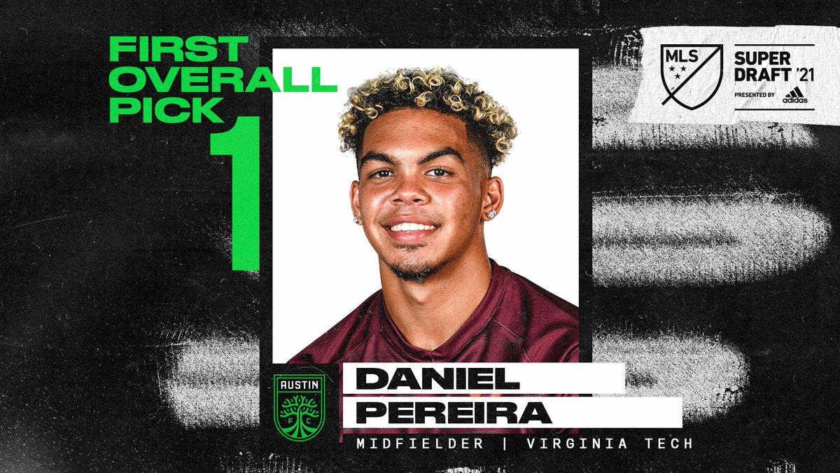 With the #1 overall pick of the 2021 #SuperDraft, @AustinFC select midfielder Daniel Pereira (@danipereira121) out of @HokiesMSoccer!