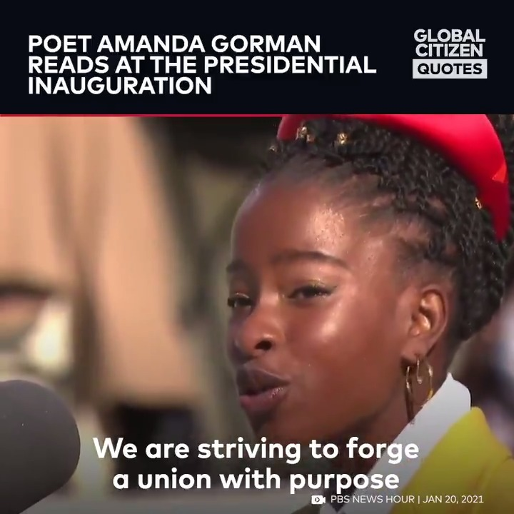 """We're still thinking about @TheAmandaGorman's beautiful poem """"The Hill We Climb"""" from yesterday's US Presidential Inauguration. Which lines stand out to you?"""