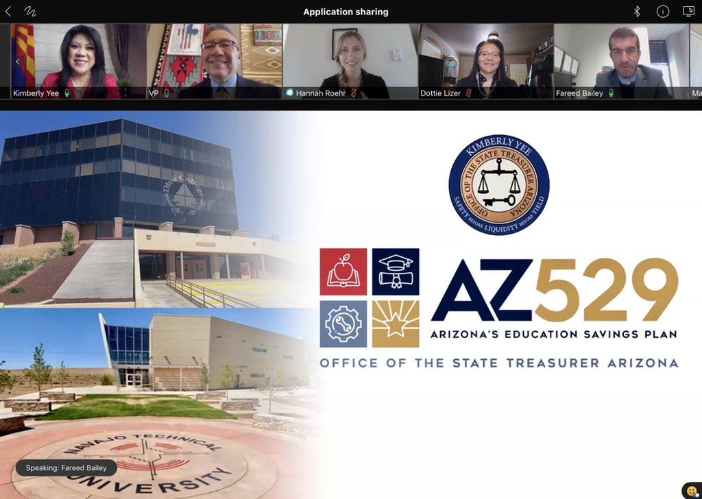 We were honored to host Arizona State Treasurer @KimberlyYeeAZ this morning to discuss AZ529 Plan on the Navajo Nation. Ahé'hee @AZTreasury  Further information: