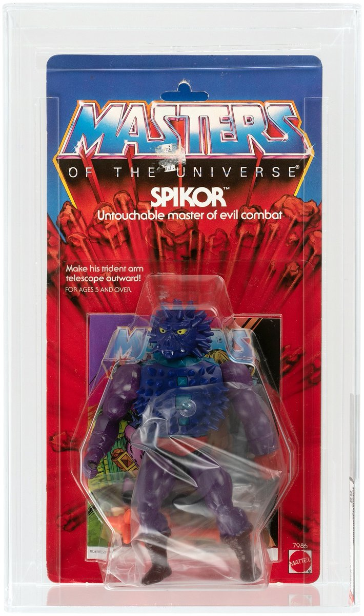 #Hakes231 Sneak Peek! Watch your fingers @MastersOfficial fans! This #AFA 80 #Spikor goes up for bid Feb. 2 at @HakesAuctions! 🦔🔱🦔 #Mattel #MOTU #MastersOfTheUniverse #actionfigures #80sToys #80s #auction #MOTUNation