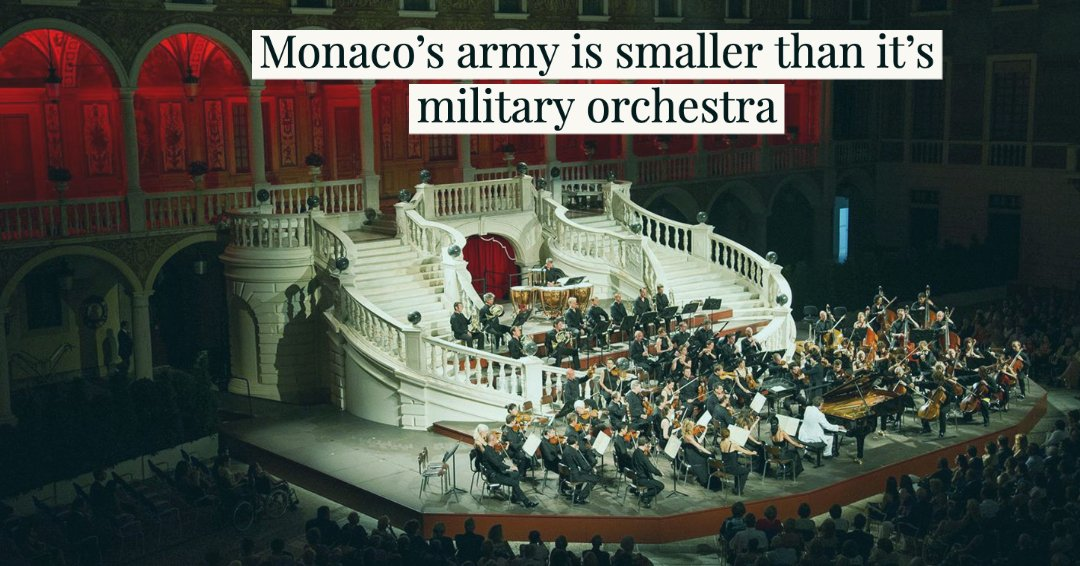 Fun Music Fact: The Monaco Army has 82 soldiers. Their Military Orchestra has 85 members. If something bad happens they may have to fight with tubas. https://t.co/XL7XDjCor1