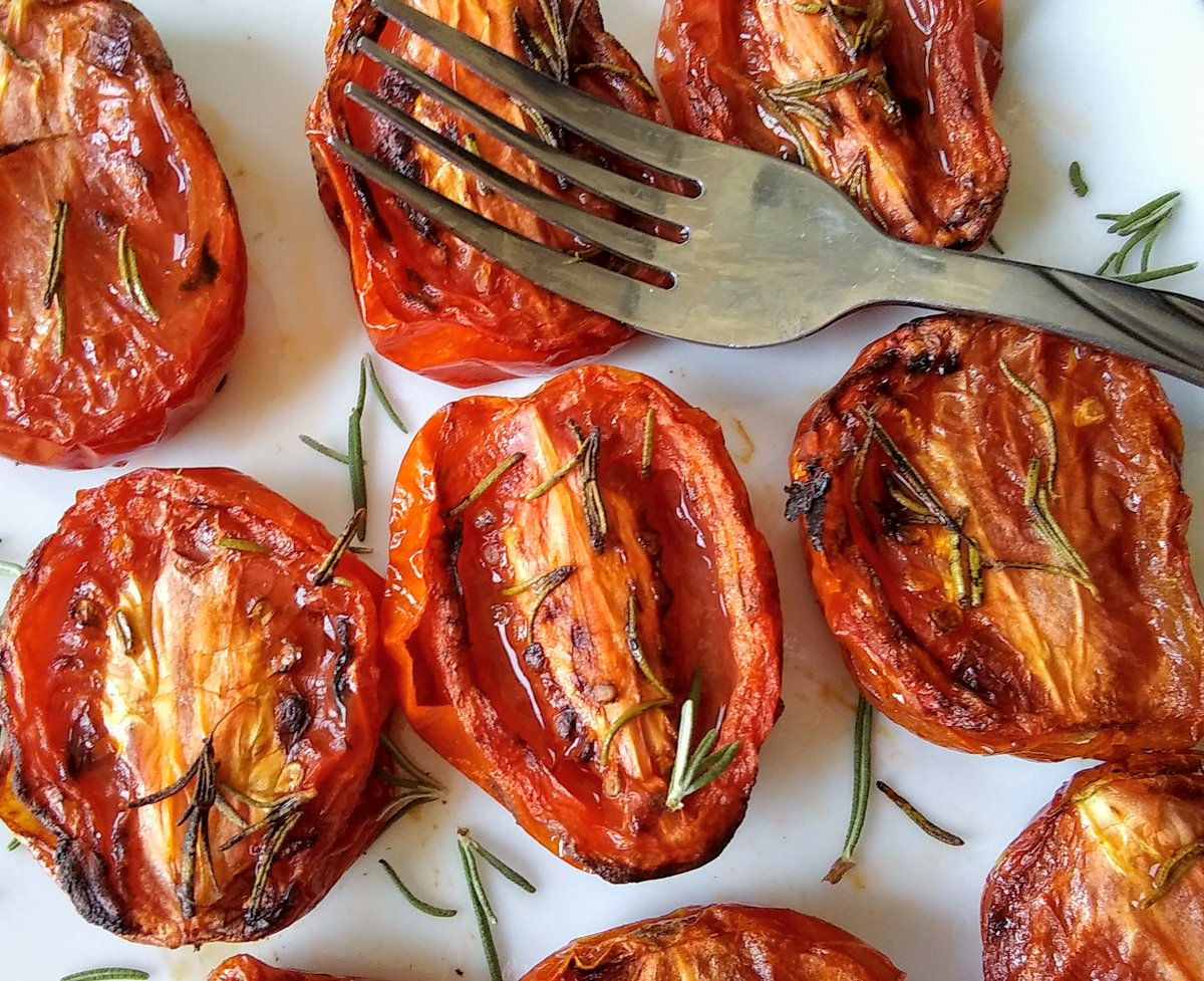 Tomatoes have the antioxidant lycopene, which has been linked to many health benefits, including reduced risk of heart disease and cancer. These #airfryer roasted #tomatoes are incredibly sweet and full of flavor. They are the best way to enjoy tomatoes!