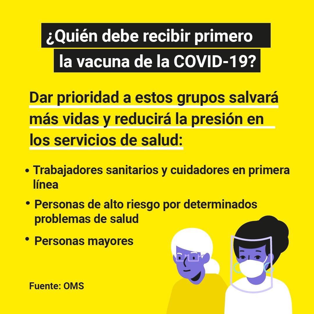 ¿Quién debe recibir primero la vacuna de la #COVID19?  Dar prioridad a los trabajadores sanitarios, cuidadores en primera línea y personas de alto riesgo ayudará a salvar más vidas.  @WHO pide una distribución de vacunas justa y equitativa.