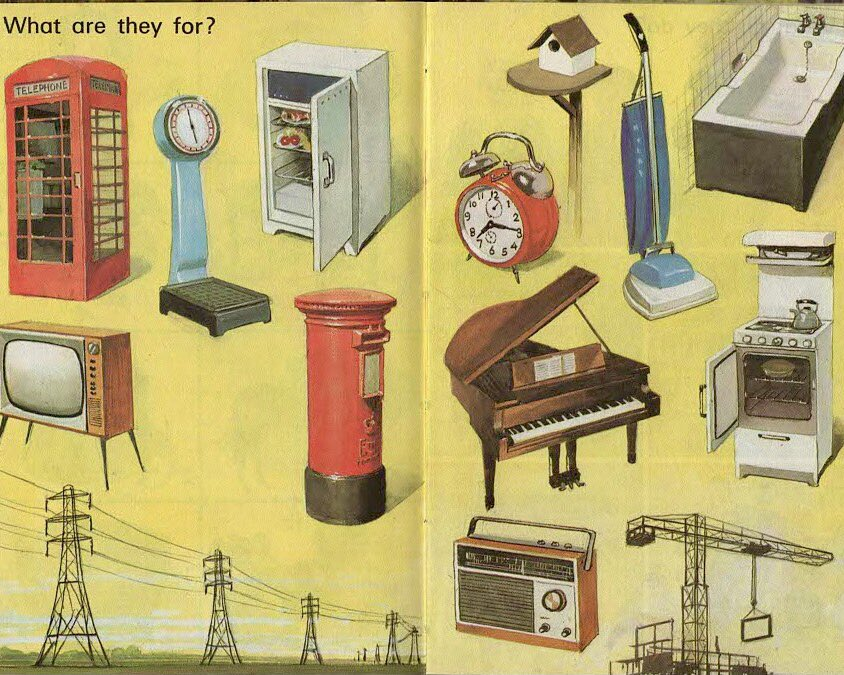 """Everyday Ladybird things, 1972.  """"What are they for?""""  (With every passing year, this task gets harder) #HarryWingfield https://t.co/8Qnpbn1dTM"""