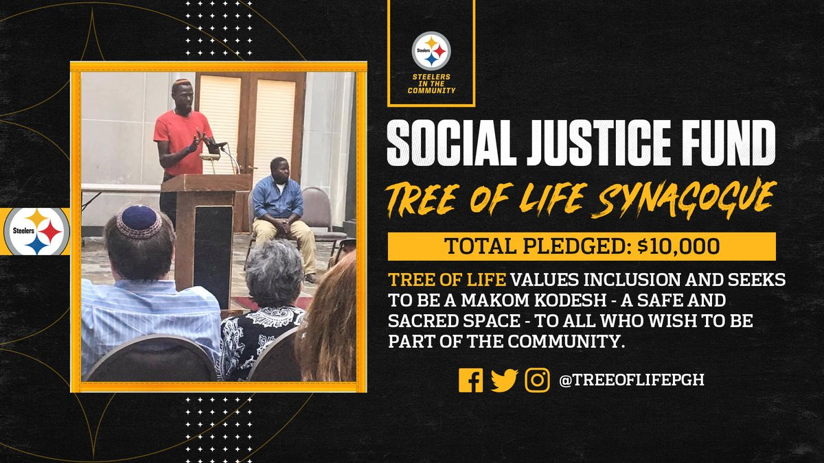 The @steelers announced donations to @treeoflifepgh from @ZBNFL with a matching contribution by the team as part of the #Steelers' Social Justice Grant program to help support community efforts.  📝: