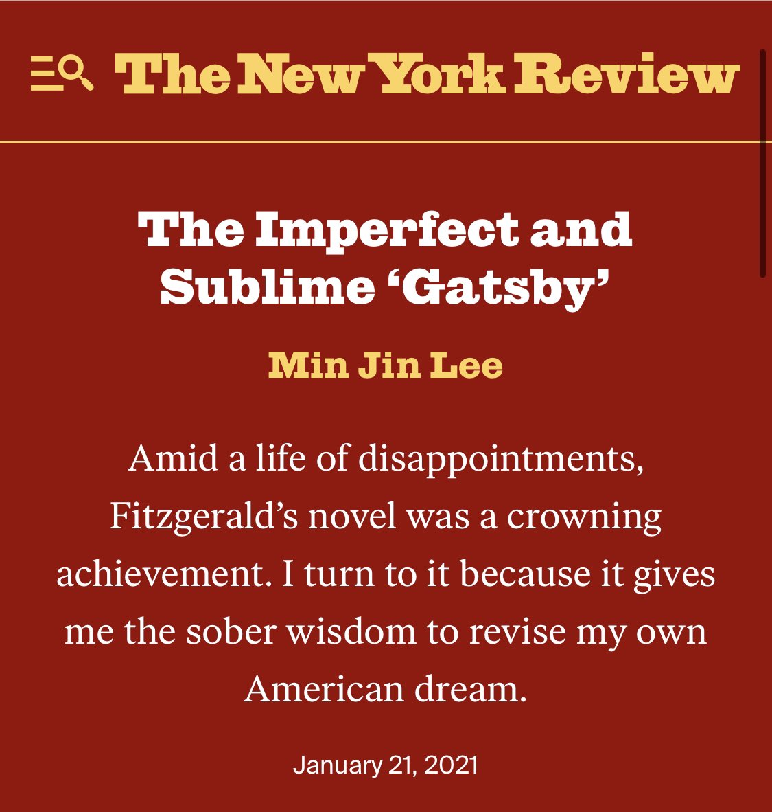 "My essay on ""The Great Gatsby"" appears in *The New York Review of Books* today. https://t.co/IWpTd4jopf https://t.co/5DHDhsVh7Q"