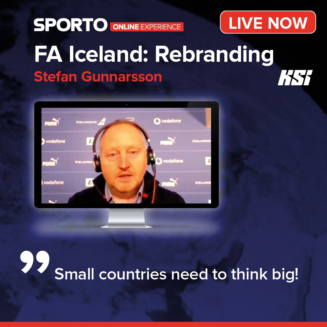 🔴 LIVE NOW at #sporto2021 🗣️ Stefan Gunnarsson (@footballiceland) provided interesting insight in the high-profile rebranding of Iceland's national football team and the Football Association of Iceland. 🐂🦅🐉💪