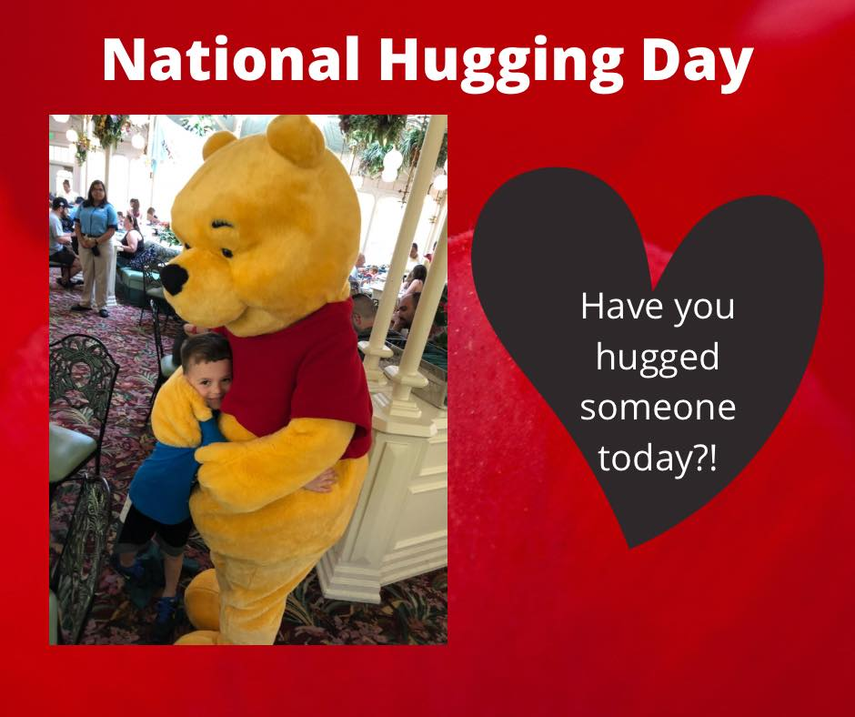 """""""A hug is always the right size"""" - Winnie the Pooh. It's National Hugging Day! Be sure to hug the ones you love today! You never know when a hug could change a person's whole day. ❤️  #NationalHuggingDay #hugtheonesyoulove #winniethepooh #mouseexpert"""