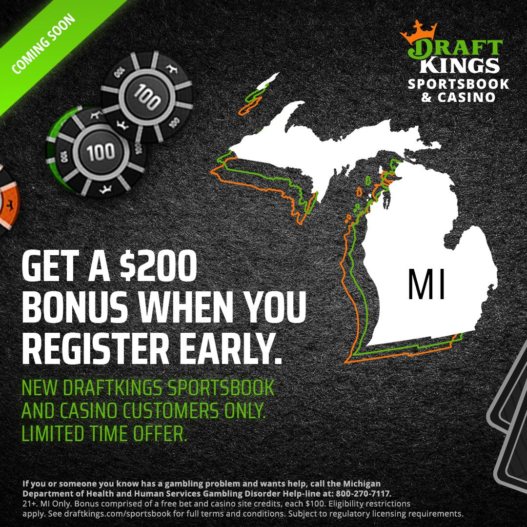 We're launching in Michigan TOMORROW!  If you sign up right now, you'll receive $100 in Casino Blackjack Credits and a $100 free sports bet once we're live!  💰