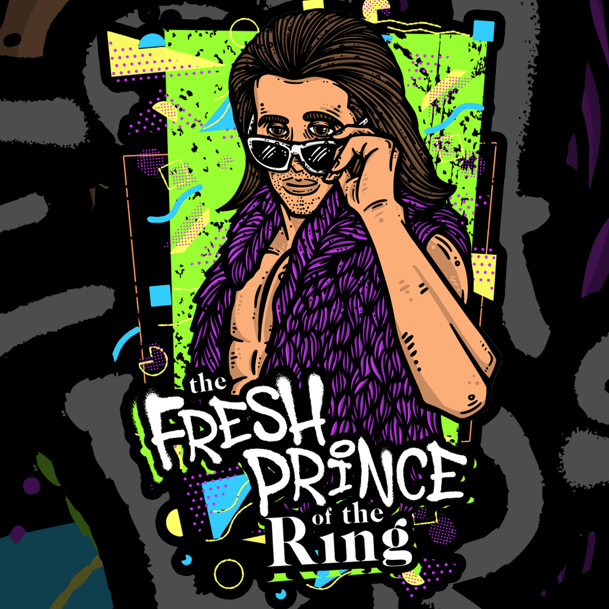had some fun putting together this rad #90sstyle design for an #indywrestler   #prowrestling #prowrestler #indywrestling #wwe #nxt #aew #allelitewrestling #freshprince #willsmith #savedbythebell #cartoonist #illustration #cartoons #freelancegraphicdesigner