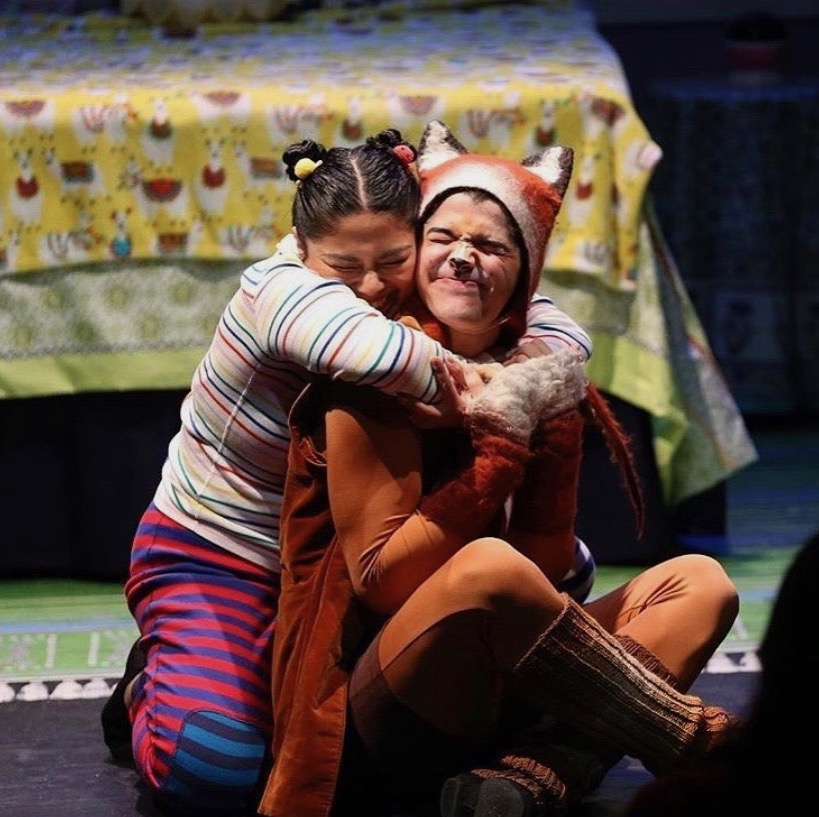 """Happy #NationalHuggingDay - sending virtual hugs your way! ❤️ Photo from """"This is Sadie"""" in 2019, a Theatre Row favorite from Company-in-Residence @NYCkidstheater. Check out their family-friendly virtual programming here:"""