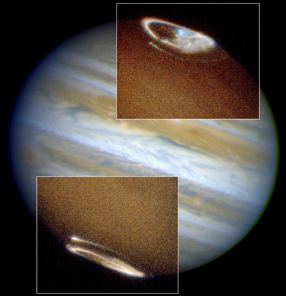 For context, the aurora images are superimposed on an image of Jupiter.