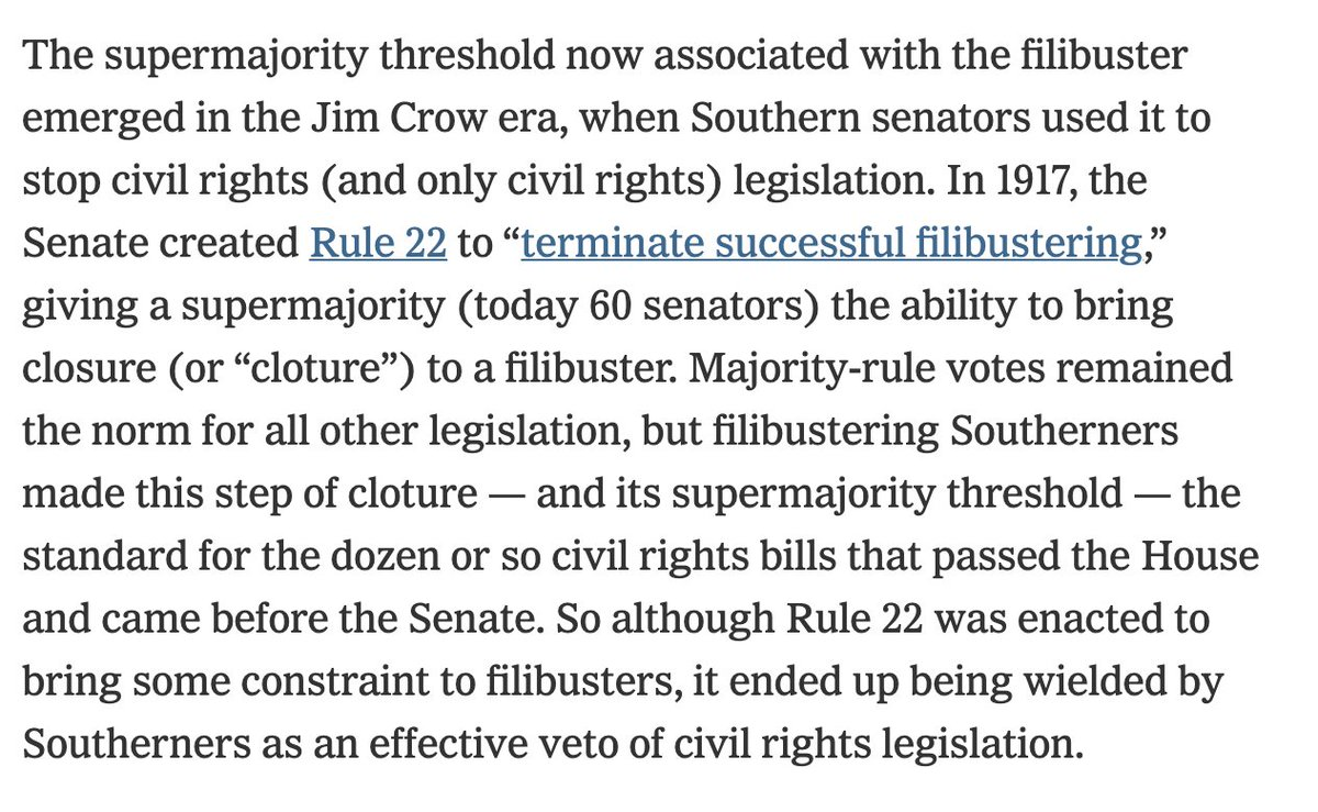 The de facto supermajority threshold was first forged against civil rights. Jim Crow-era segregationist senators repurposed a 1917 Senate rule to force every civil rights bill to clear a supermajority threshold, blocking them all. Only civil rights bills were blocked in this way. https://t.co/0Op6pDfWEL