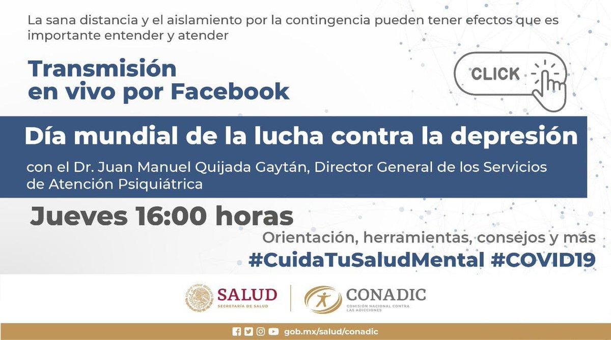 Te esperamos hoy a las 16:00 h, en el #FBLive: ¿Qué es la #depresión y cómo se diagnostica?, en el marco del Día Mundial de la Lucha contra la Depresión. Acompaña al Dr.@psiquijada, Dir. Gral. de @Psiquiatria_SAP. Sigue la transmisión por #Facebook y #Twitter https://t.co/Lelx5nMmDI