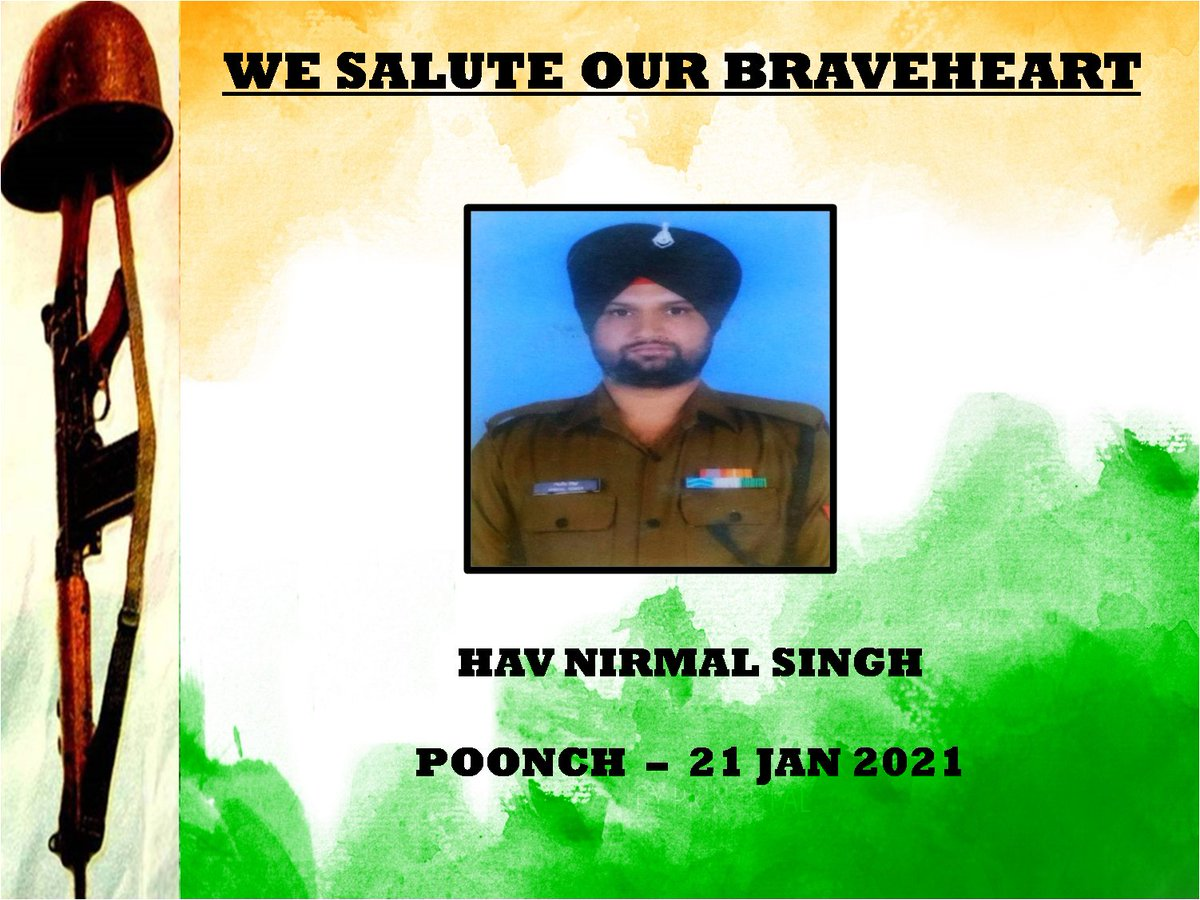 #IndianArmy   #LtGenYKJoshi, #ArmyCdrNC and all ranks #salute the #supreme sacrifice of Hav Nirmal Singh; offer deepest condolences to the family.  #SpokespersonMoD #NationFirst   @adgpi @Whiteknight_IA  @proudhampur