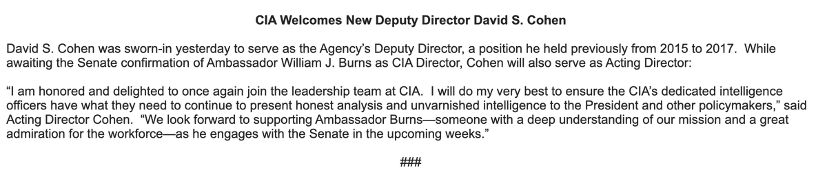 New from CIA:
