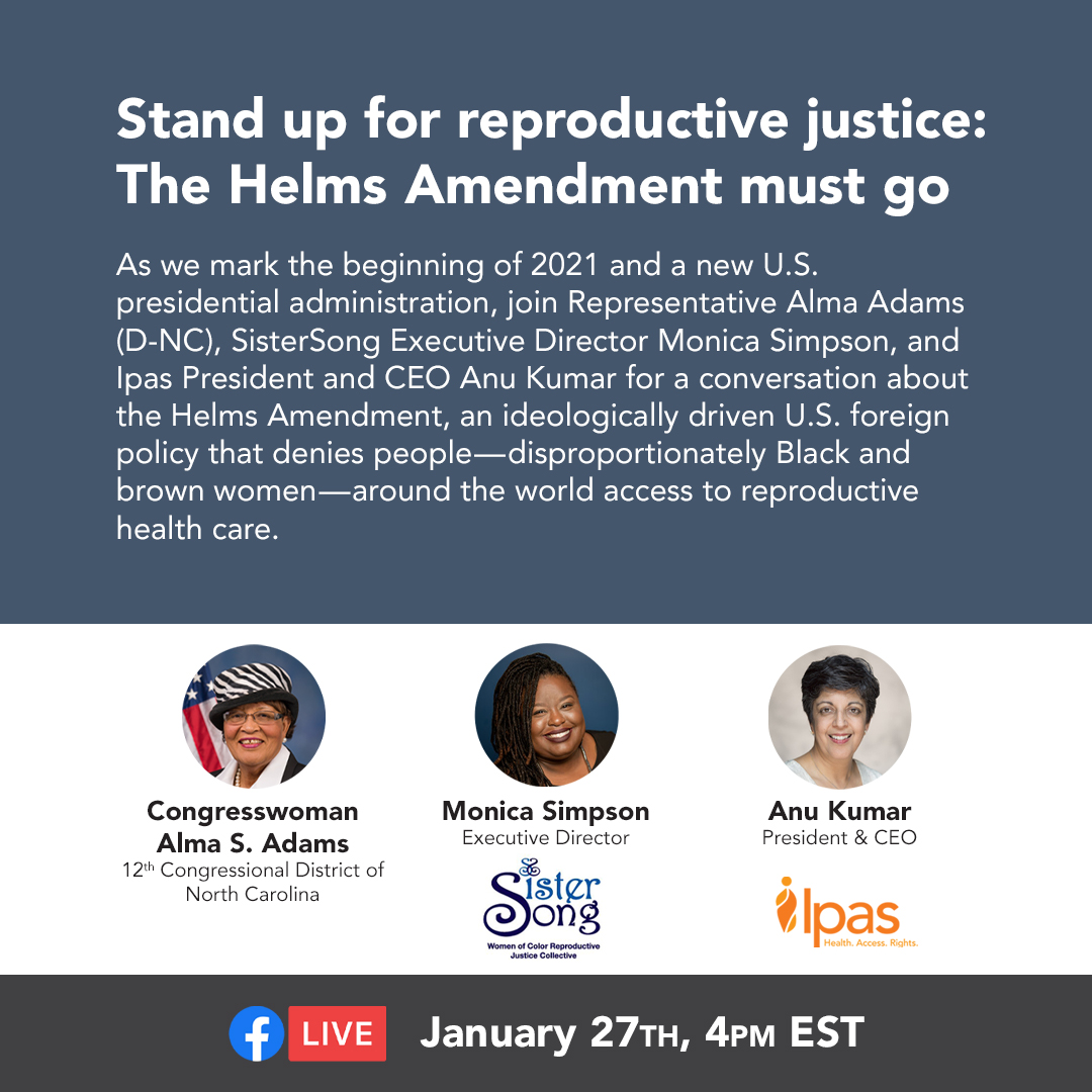#RepealHelms! Introduced by the late NC Senator, Jesse Helms, this policy is rooted in racism and colonialism. It is (way past) time for it to go! JOIN SisterSong, @IpasOrg and Rep. Alma Adams (D-NC) on 1/27 at 4pm ET!
