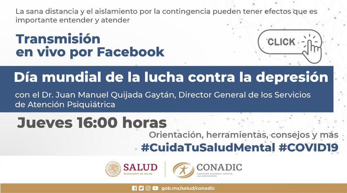 Te esperamos hoy a las 16:00 h, en el #FBLive: ¿Qué es la #depresión y cómo se diagnostica?, en el marco del Día Mundial de la Lucha contra la Depresión. Acompaña al Dr.@psiquijada, Dir. Gral. de @Psiquiatria_SAP. Sigue la transmisión por #Facebook y #Twitter https://t.co/h8kDPQr6KP
