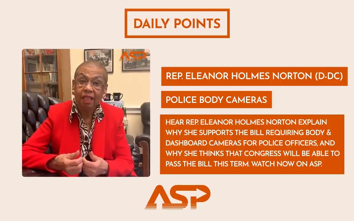 Hear Rep. @EleanorNorton explain why she supports the bill requiring body & dashboard cameras for police officers, and why she thinks that Congress will be able to pass the bill this term. Watch the #DailyPoint here 👉