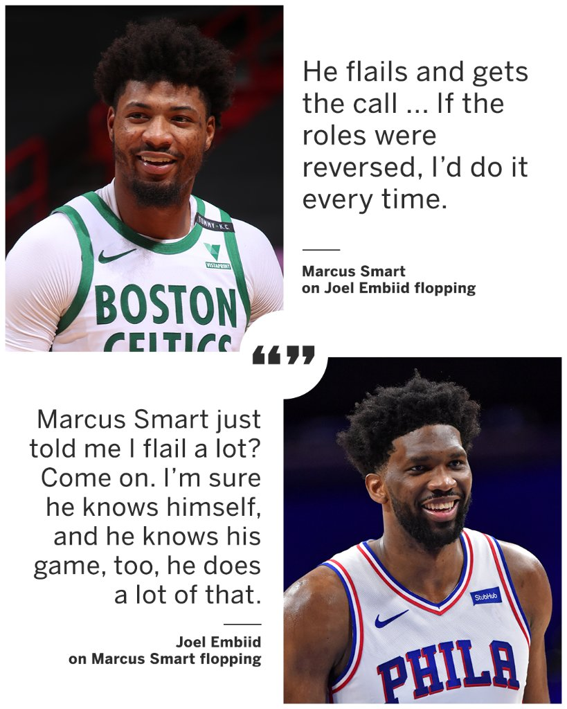 Joel Embiid couldn't believe Marcus Smart called him out for flopping 👀 🍿 https://t.co/P5R5NYyknv