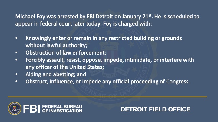A Wixom man has been arrested by #FBIDetroit on charges related to the violence at the US Capitol on January 6th. @FBIWFO @USAO_DC justice.gov/opa/investigat…