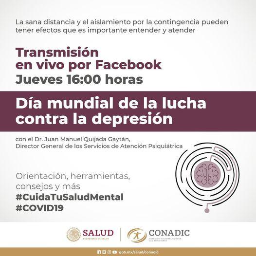 ¿Qué es la depresión y cómo se diagnostica?, en el marco del Día Mundial de la Lucha contra la Depresión. Con el Dr. Juan Manuel Quijada, Dir. Gral. de SAP S. Atención Psiquiátrica. #CuidaTuSaludMental #saludmental #ConadicTeEscucha #hablemosdedepresion https://t.co/BOL5sphtka