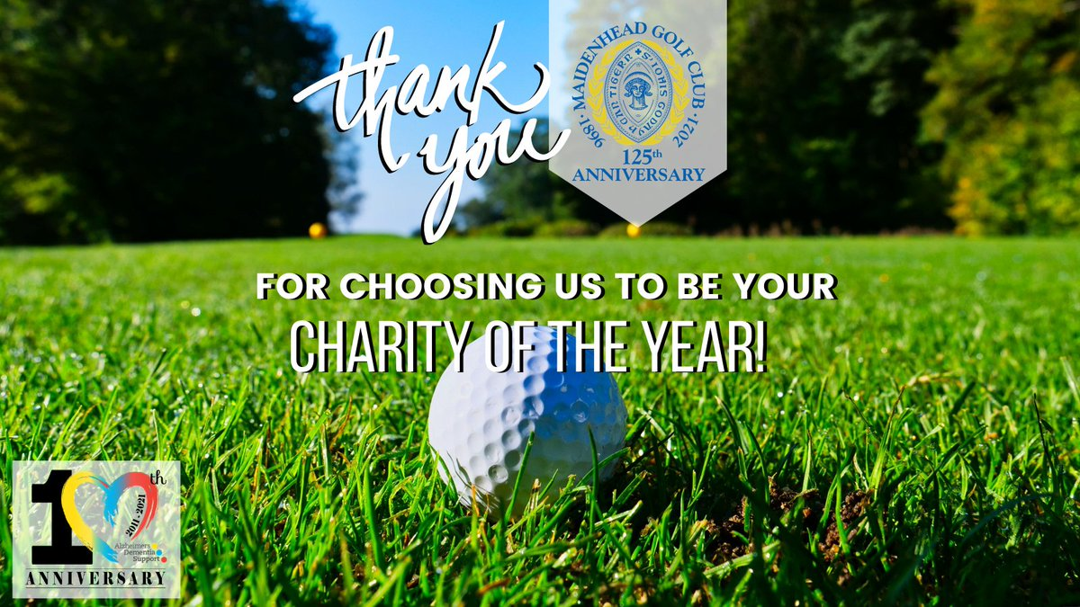 🥳 Thank you @maidenheadgc for choosing 'ADS' as your Charity of the Year for 2021! 💛💙❤️​ #AlzheimersDementiaSupport #ADSCharity #charity #donate #HealthCare #GivingTuesday #10YearsOfADS #Fundraising #CharityOfTheYear #localcharity #partnership #alzheimers #dementia #mgc125